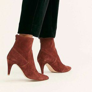Free People Willa suede heeled ankle boot red